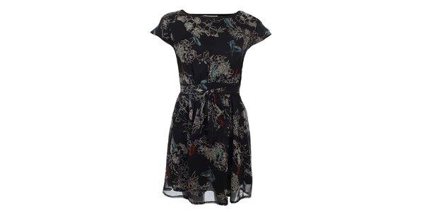 Dámske čierne šaty s potlačou vtáčikov a kvetov Uttam Boutique