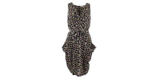 Dámske smotanové šaty s potlačou Uttam Boutique