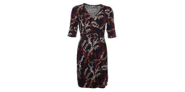 Dámske čierne šaty s retro potlačou Uttam Boutique