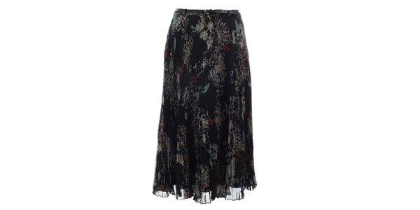 Dámska černá vzorovaná plisovaná sukňa Uttam Boutique