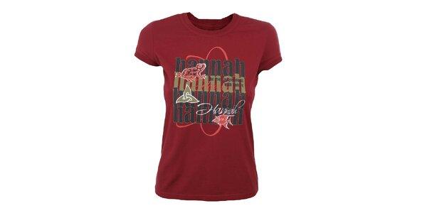 Dámske tmavo červené tričko s potlačou Hannah