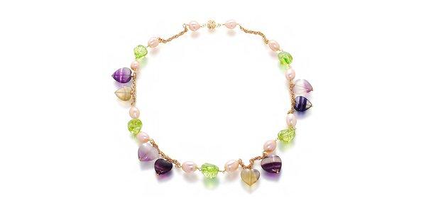 Dámský farebný náhrdelník z perlí a drahokamov Orchira