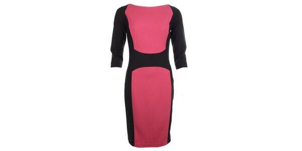 Dámske čierno-ružové púzdrové šaty Pietro Filipi