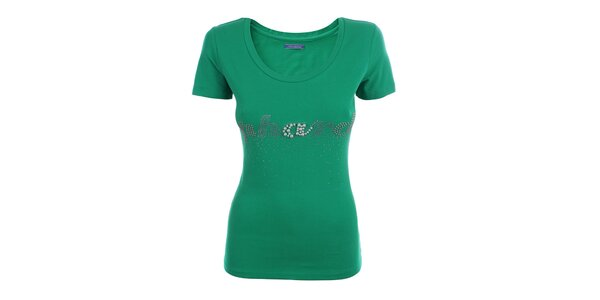 Dámske zelené tričko s kamienkami a korálkami Phard