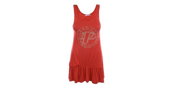 Dámske červené šaty na ramienka Phard