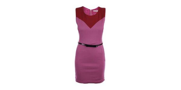 Dámske ružové šaty s čiernym lesklým opaskom Phard