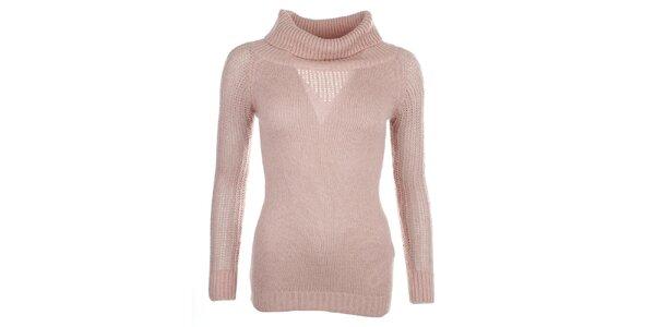 Dámsky svetlo ružový sveter s rolákom Phard