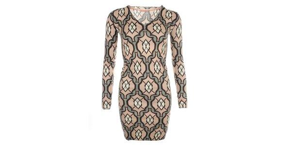 Dámske vzorované šaty s dlhým rukávom Phard