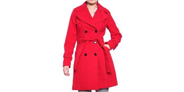 Dámsky červený dvojradový kabát s opaskom Vera Ravenna