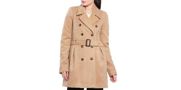 Dámsky svetlo hnedý krátky kabát s opaskom Vera Ravenna