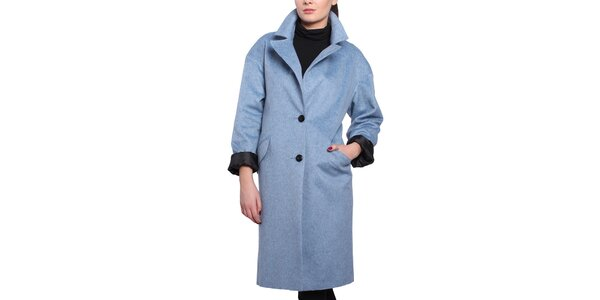 Dámsky modrý oversized kabát Vera Ravenna
