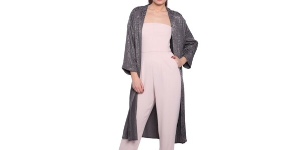 Dámsky šedý ľahký kabát s elegantným vzorom Vera Ravenna