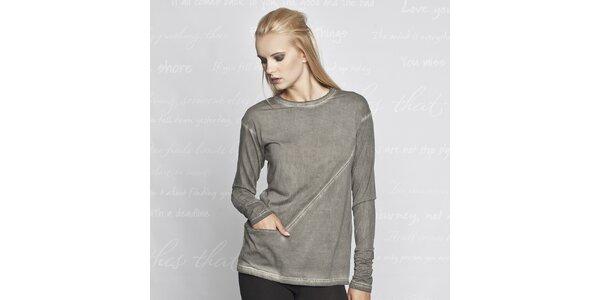 Dámske šedé tričko s vreckom Paphia