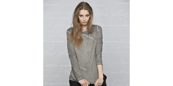 Dámske šedé tričko s dlhým rukávom Paphia