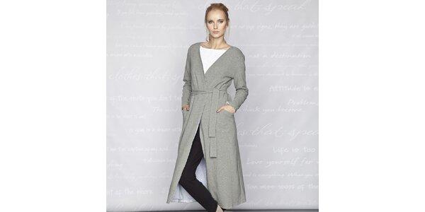 Dámsky šedý dlhý kabát Paphia