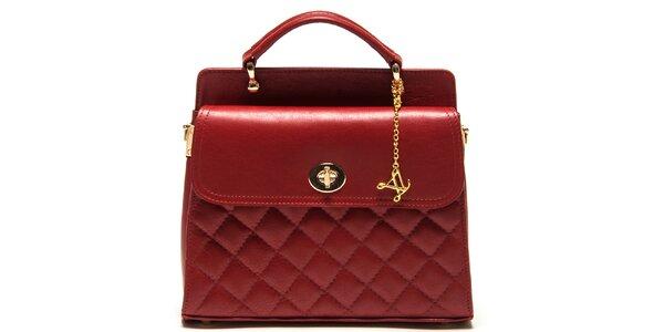 Dámska červená kabelka s prešívaním Luisa Vannini