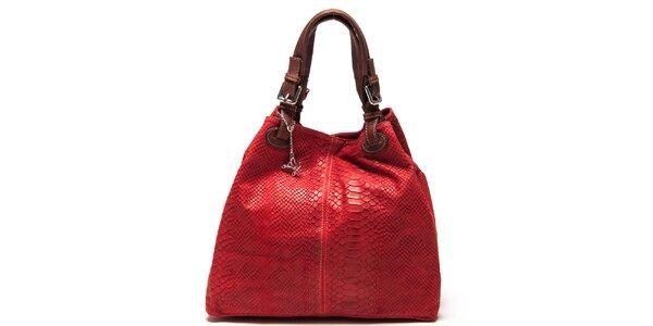 Dámska červená kožená kabelka so šupinatým vzorom Luisa Vannini