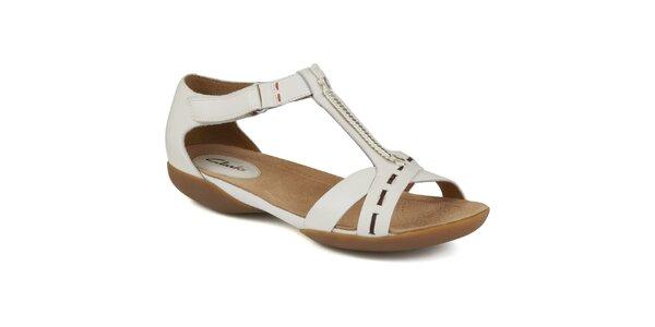 Dámske biele kožené sandálky s ozdobnými gombíkmi Clarks