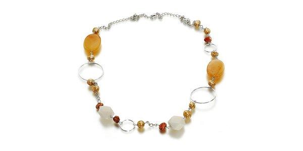 Dámský náhrdelník s perlami a nefritom Orchira