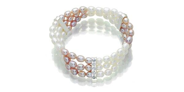 Dámsky ružovo-biely perlový náramok Orchira