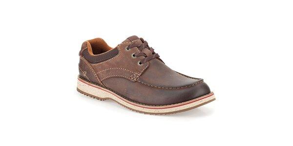 Pánske prešívané hnedé kožené topánky Clarks