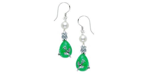 Náušnice Orchira s bielou perlou a zeleným nefritom
