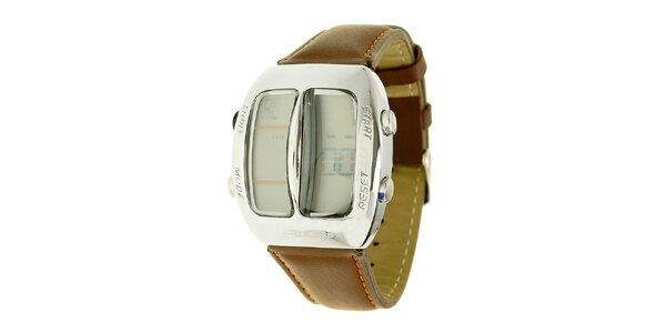 Unisexové hnedé digitálne hodinky RG512