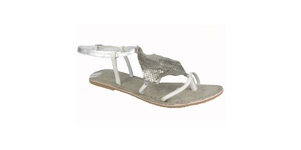 Dámske kožené bielo-strieborné sandále Bullboxer