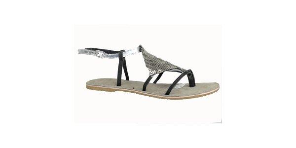 Dámske kožené čierno-strieborné sandále Bullboxer