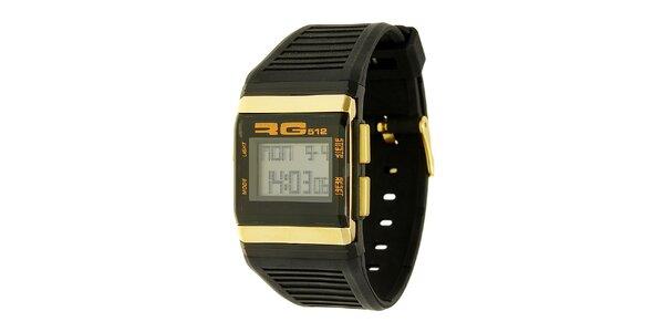 Unisexové čierno-zlaté digitálne hodinky RG512