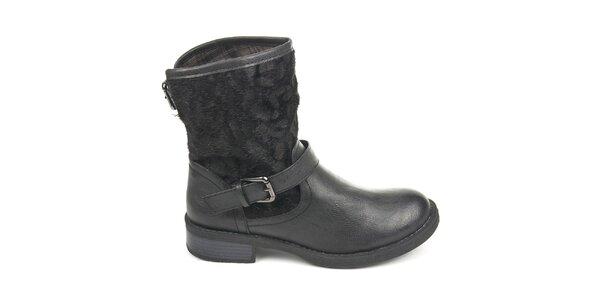 Dámske čierne topánky s vonkajším kožúškom Destroy