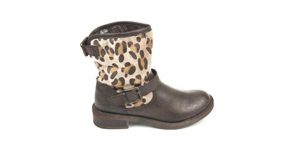 Dámske hnedé topánky s vonkajším vzorovaným kožúškom Destroy