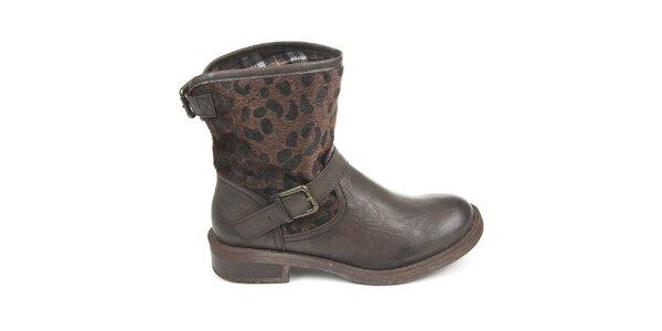 Dámske tmavo hnedé topánky s vonkajším vzorovaným kožúškom Destroy