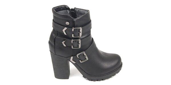 Dámske čierne členkové topánky s remienkami cez členok Destroy