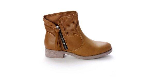 Dámske svetlo hnedé členkové topánky s perforovaním Destroy