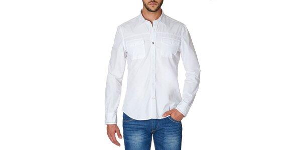 Pánska biela košeľa s náprsnými vreckami Paul Stragas
