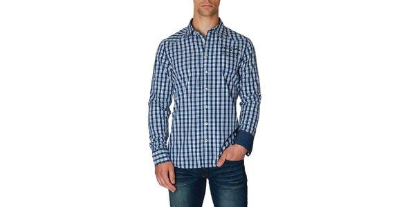 Pánska modro-biela košeľa s kockovaným vzorom Paul Stragas