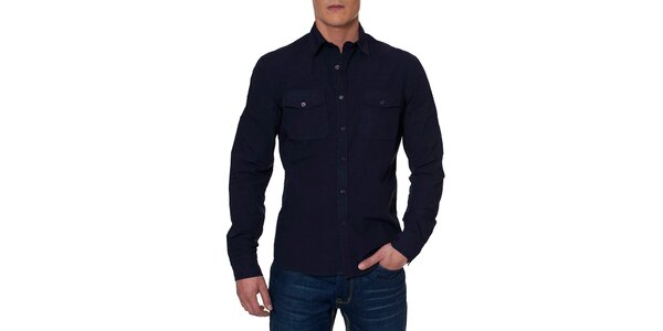Pánska tmavo modrá košeľa s vreckami Paul Stragas