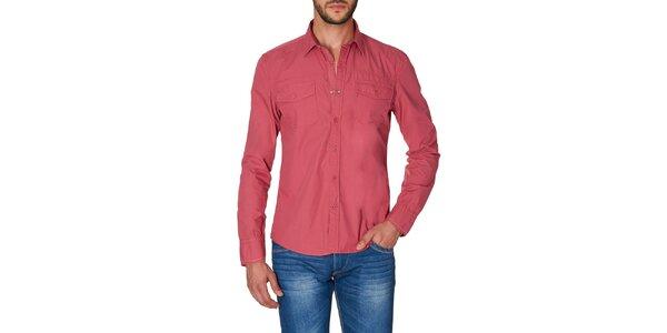 Pánska červená košeľa s náprsnými vreckami Paul Stragas