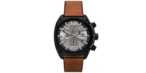 Pánske hodinky s hnedým remienkom Diesel