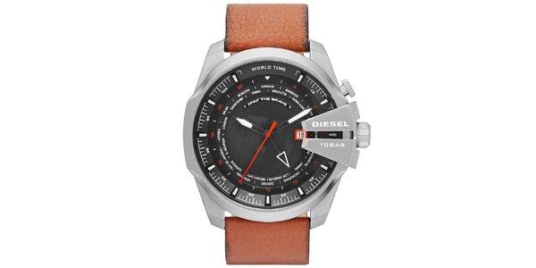Pánske masívne hodinky s hnedým remienkom Diesel