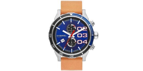 Pánske hodinky s modrým ciferníkom a svetlo hnedým remienkom Diesel