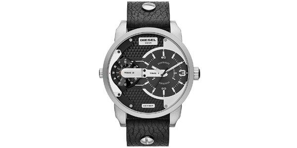 Pánske strieborno-čierne hodinky Diesel