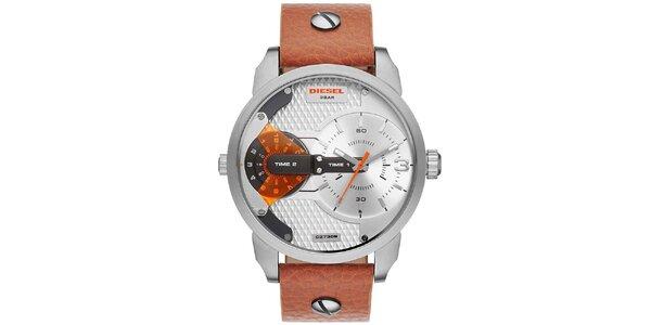 Pánske strieborno-hnedé hodinky Diesel