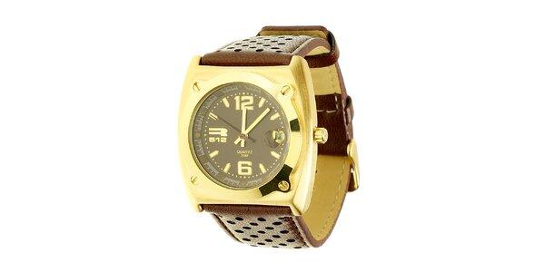 Unisexové hnedo-zlaté analogové hodinky RG512