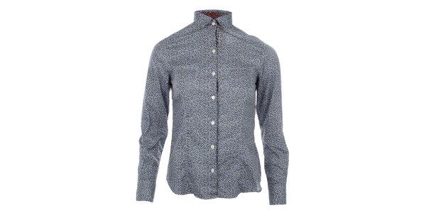Dámska košeľa s drobnými modrými kvietkami SMF Jeans