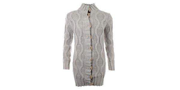 Dámsky šedý sveter s plastickým vzorom a olivkovými gombíkmi SMF Jeans