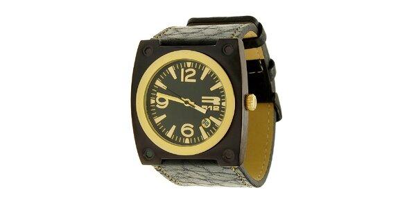Unisexové čierno-zlaté analogové hodinky RG512