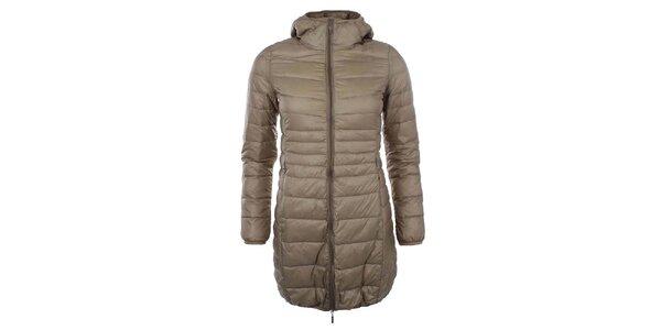 Dámsky prešívaný béžový kabát s kapucňou SMF Jeans
