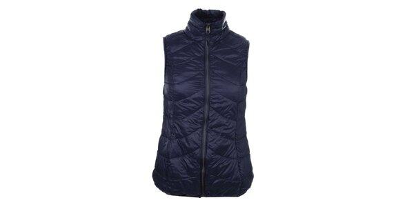 Dámska tmavo modrá prešívaná vesta so stojáčikom SMF Jeans